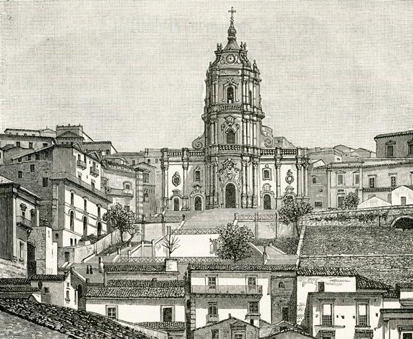 1892 год гравюра собор святого Георгия в Модике