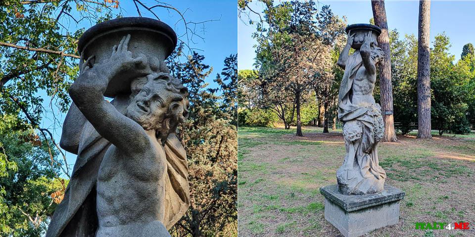 Статуя Сатира на вилла Шарра в Риме