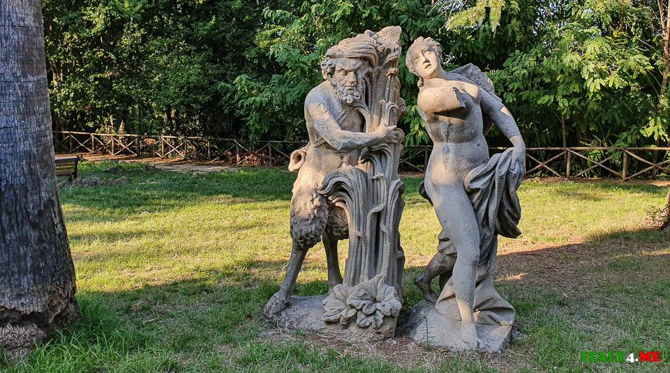 статуя Нимфы и влюблённого Сатир вилла Шарра Рим