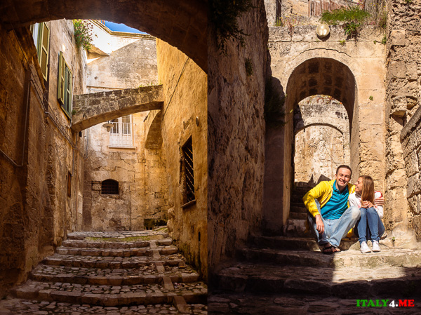 Артур и Яна Якуцевич гуляют по улочкам пещерного города Матера