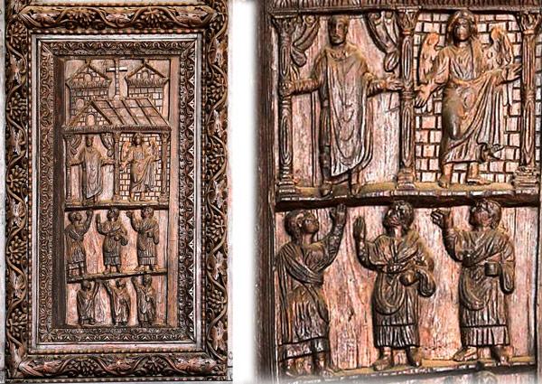 Сцена приветствия на дверях в базилике Санта Сабина Рим