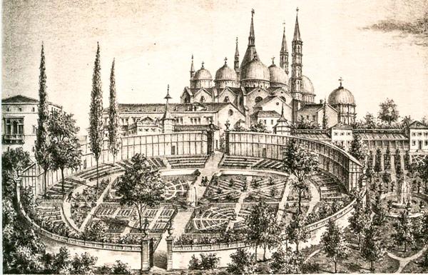 старинная литография XVI с изображением ботанического сада Падуи