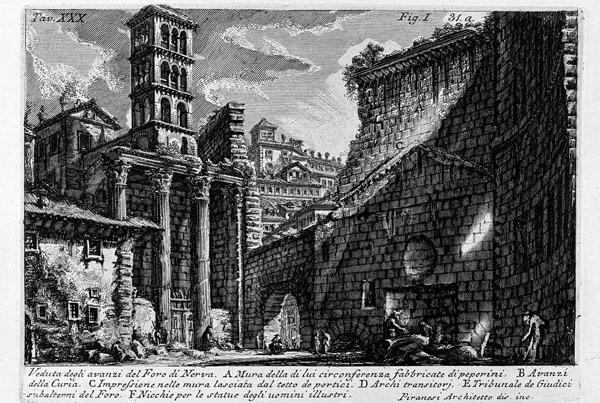 Рисунок Пиранези 1756 год императорский форум Нервы рядом с форумом Августа в Риме