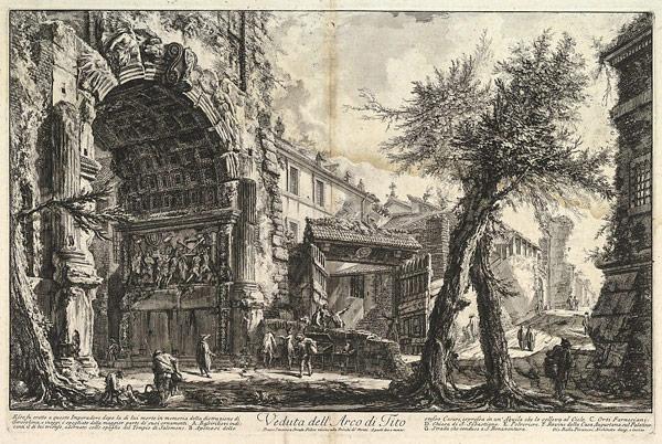 Гравюра Пиранези арка Тита до реконструкции в XVIII веке