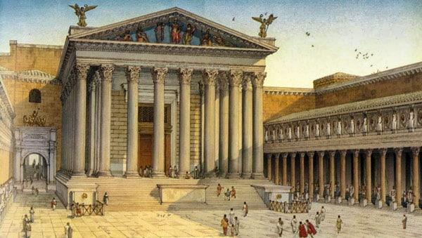 Храм Августа посвященный богу Марсу в Риме реконструкция