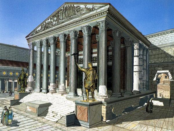 Скульптуры у храма Августа в Риме