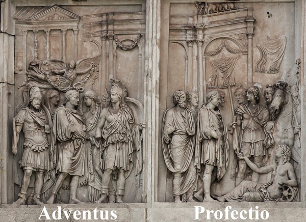Барельеф северная сторона арки Константина в Риме, отъезд Марка Аврелия на войну