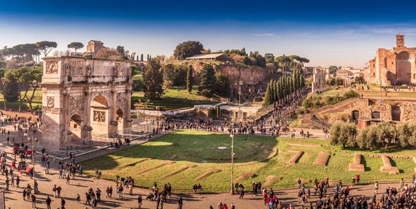 Расположение Арки Константина в Риме вид со стороны Колизея