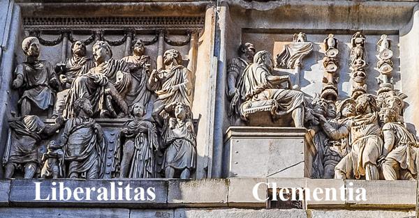 Барельеф проявление щедрости и милосердия северная сторона арки Константина в Риме