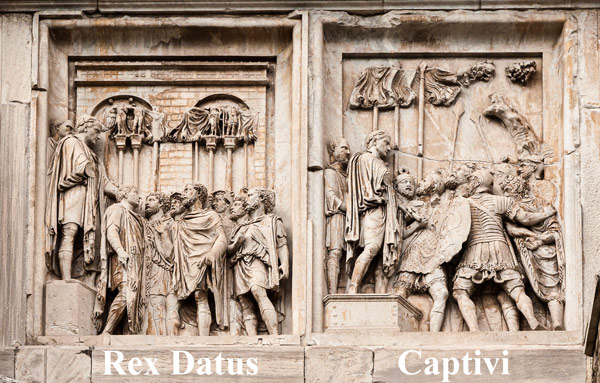 представление варварского царя и пленники перед Константином барельеф на северной части арки в Риме