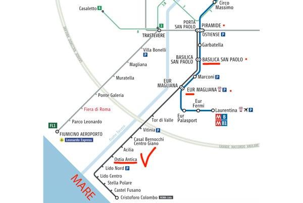 Схема транспорта и маршрут как добраться в Остию Антика из Рима