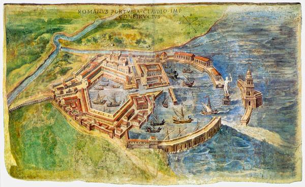 Реконструкция руин Порта Древней Остии с 1582 года, выполненная Игнацио Данти находится в галерее карт музеев Ватикана