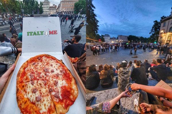 Туристы слушают выступление уличных музыкантов в Риме рядом с мостом Сикста