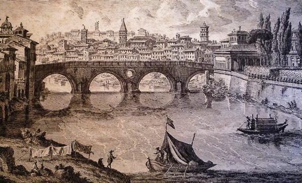 Как выглядел мост Сикста в Риме в 18 веке