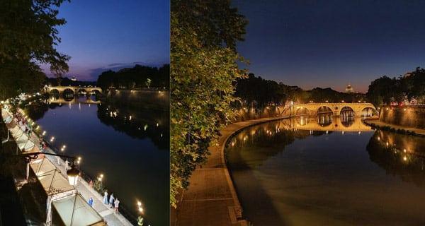 Набережная реки Тибр в Риме вид на мост Сикста на закате
