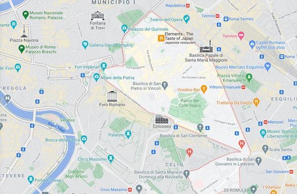 карта района Монти в Риме