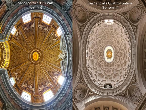 купола церквей Церкви Сант-Андреа-аль-Квиринале и Сан-Карло-алле-Куатро-Фонтане в Риме район Монти
