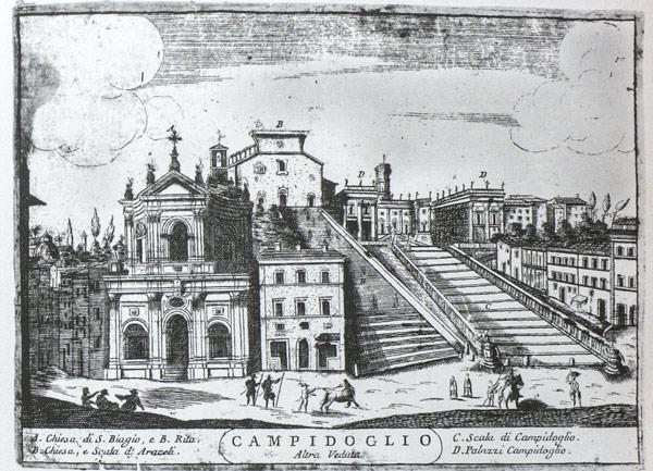 Старинная гравюра с изображением базилики Санта-Мария-ин-Арачели в Риме