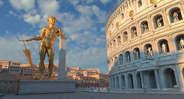 бронзовая статуя Нерона в Риме рядом с Колизеем реконструкция