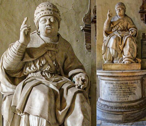 Скульптура папы Льва X в базилике Санта Мария ин Арачелли Рим