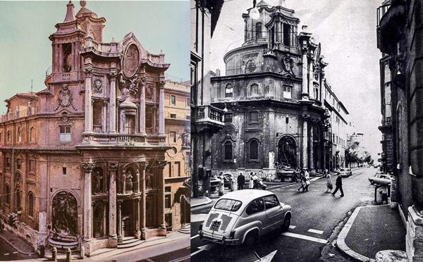 площадь Четырёх фонтанов в Риме историческое фото 1970 годы