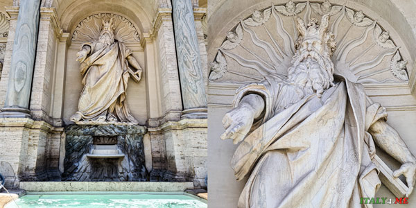 Статуя рогатого Моисея на фонтане Аква Феличе в Риме