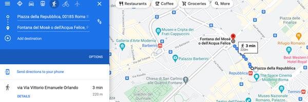 Маршрут на карте до фонтана Аква Феличе в Риме как добраться от вокзала Термини