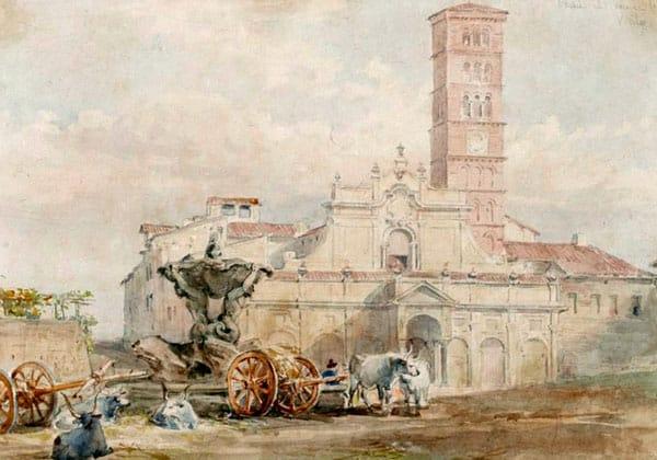 Фонтан тритонов на Пьяцца делла Бокка делла Верита напротив базилики Санта-Мария-ин-Козмедин в Риме